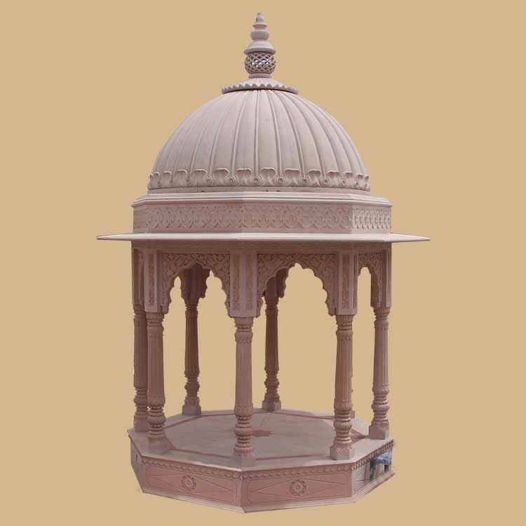 hexagonal Indian traditional carved stone Gazebo with dome