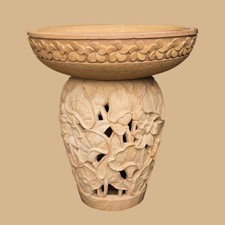 Teak Stone Birdbath Pedestal For Lighting