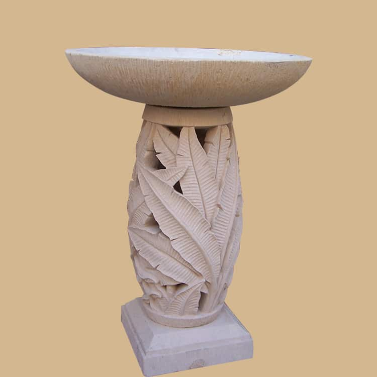 Balinese Stone Beautifully Carved Base Birdbath