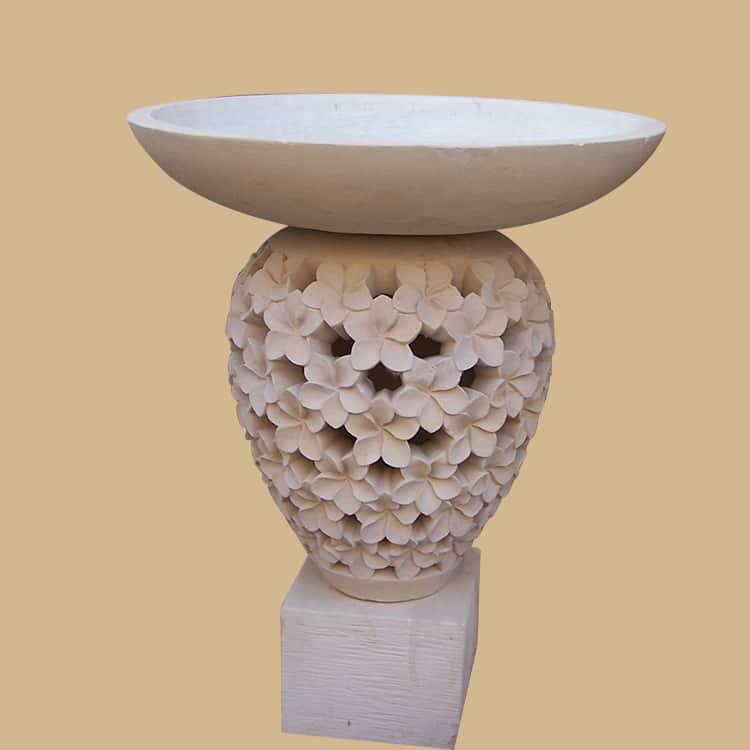 Balinese Stone Frangipani Carved Birdbath