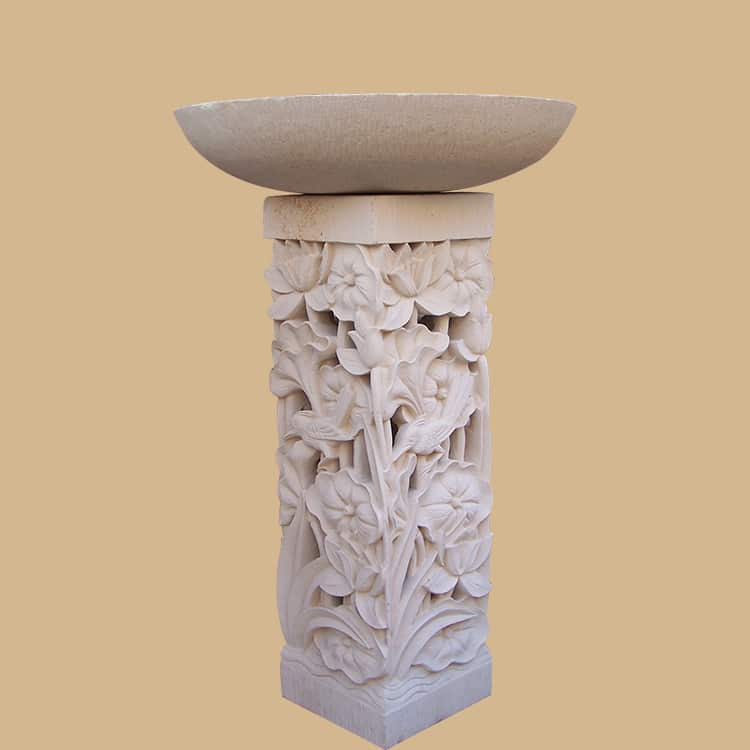 Bali Stone Lotus Flower Carved Birdbath