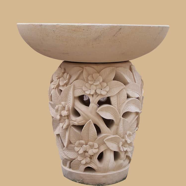 Bali Stone Plumeria Flower Carved Birdbath