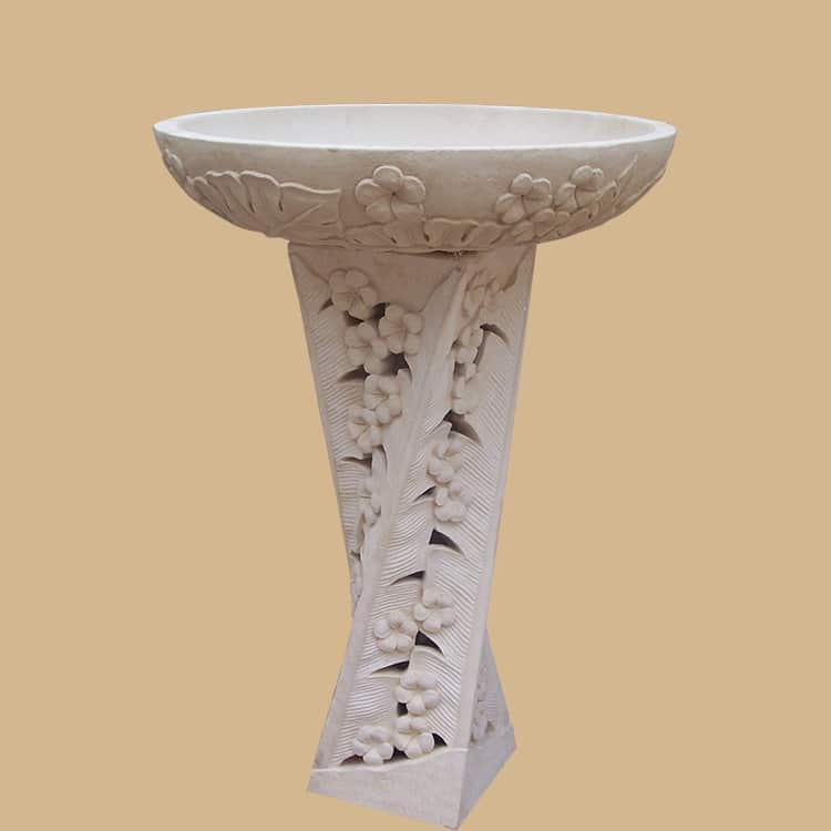 Balinese Stone Carved Twisted Base Birdbath