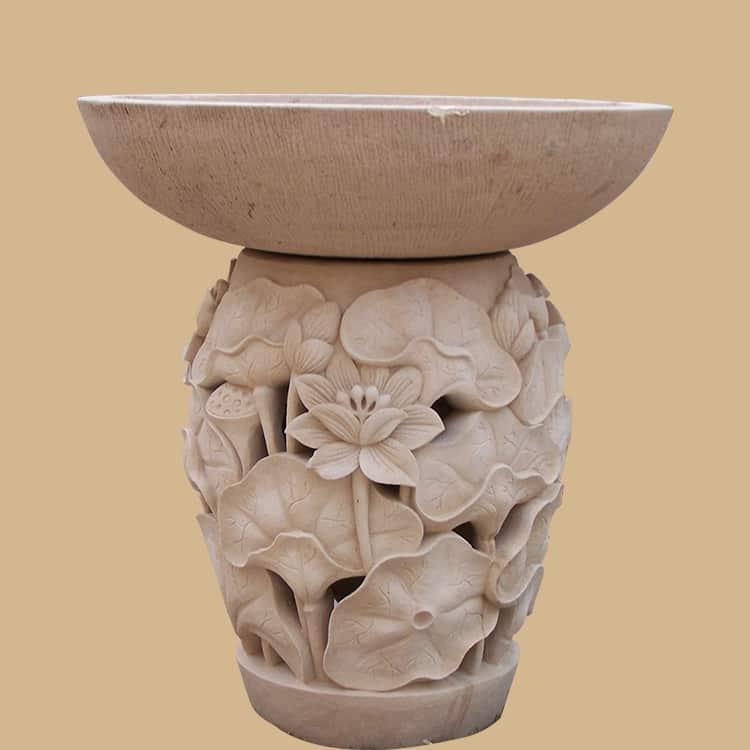 Balinese Stone  Water Lily Carved  Birdbath