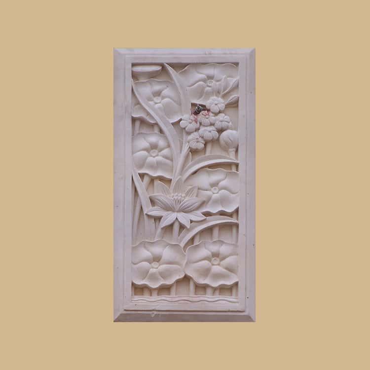 Bali Stone Lotus Carved Panel