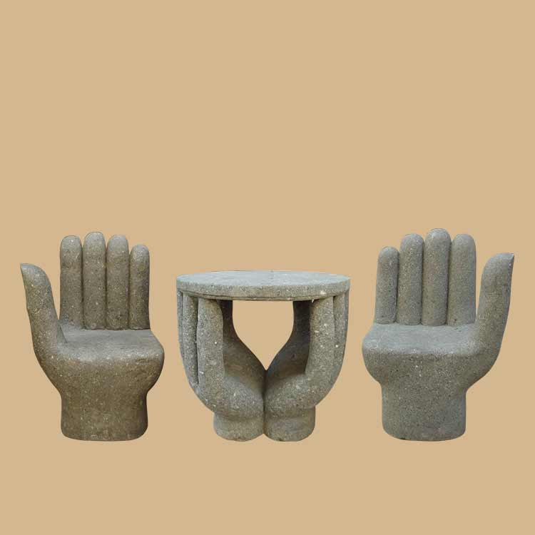 Lava Stone Hand Shaped Stone Chairs for Garden