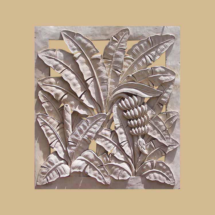 Bali Stone Banana Carved Panel