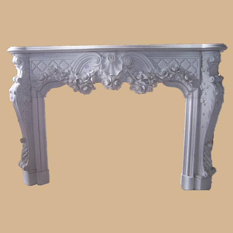 Carved White Marble Decorative Fireplace Surround