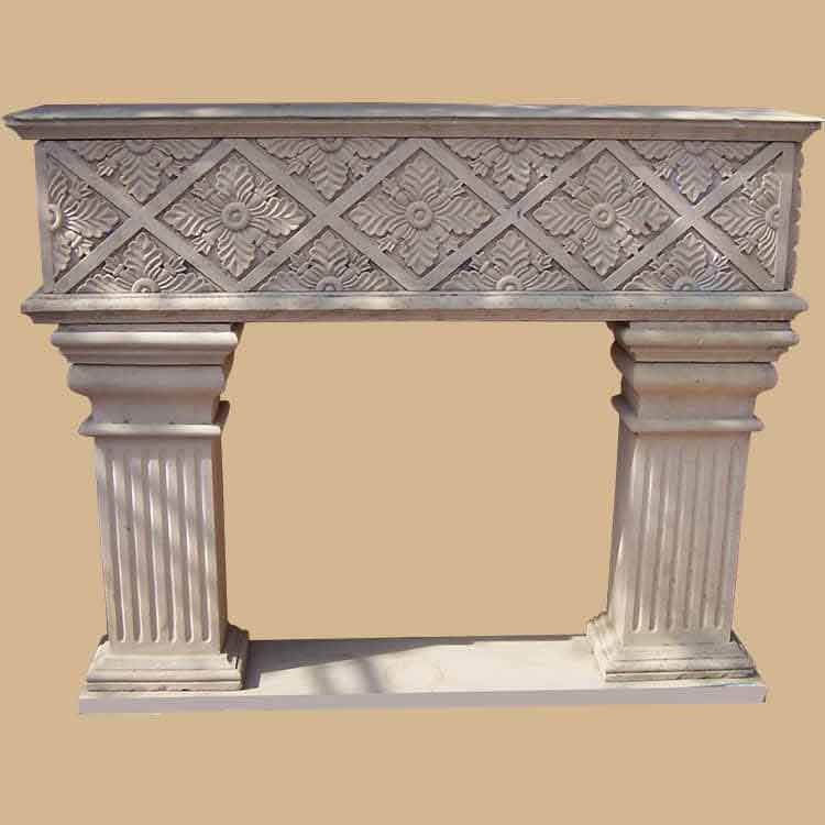 Dholpur Stone Carved Fireplace Asian Design