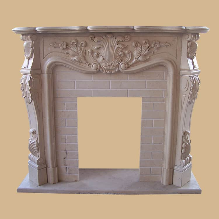 Beige Marble French Design Fireplace