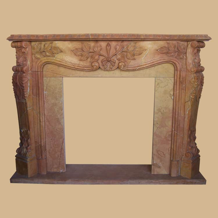 Brown Marble Fireplace With Leaf Carved