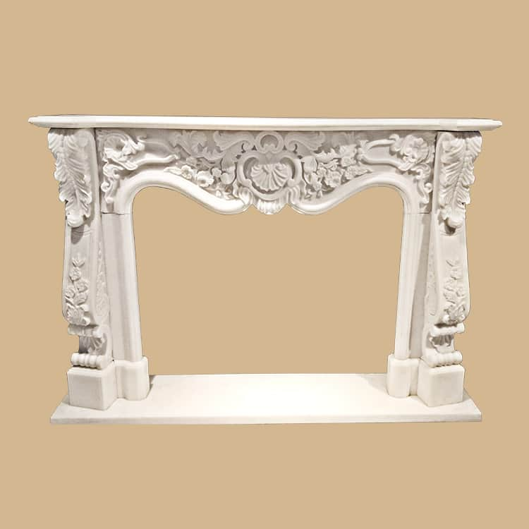 French Baroque Design  Marble Fireplace