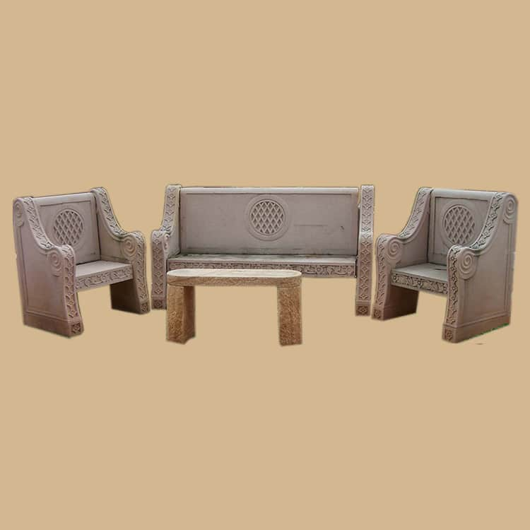 Dholpur Stone Sofa Set with Centre Table