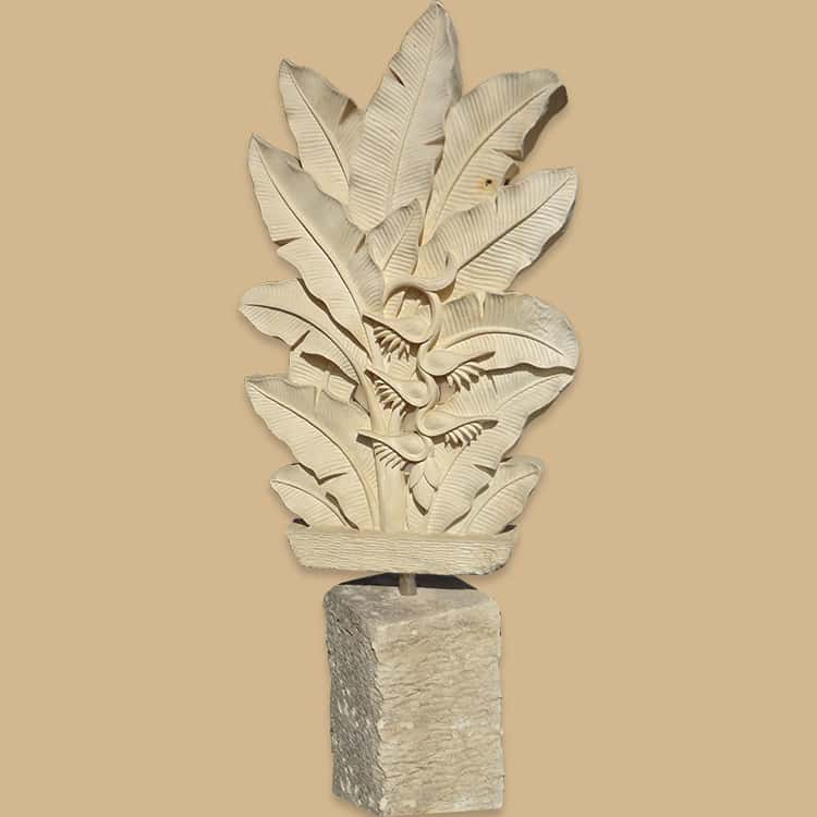 Bali Stone Banana Leaf Engrave Wall Panel