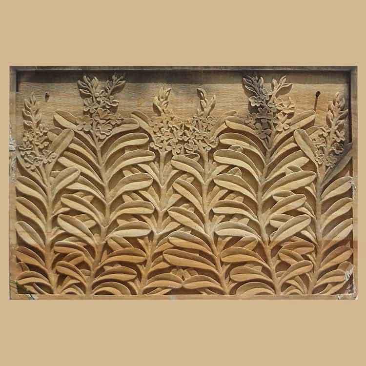 Lobate Leaf Stone Carved Panel