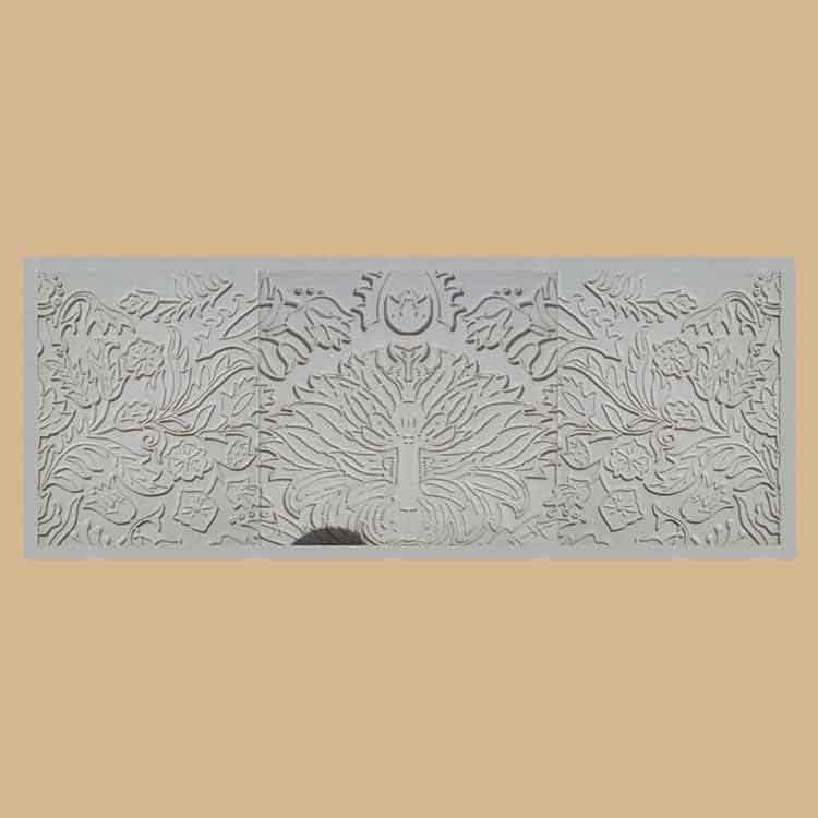 Vietnam White Marble Abstract Style Carved Wall Panel