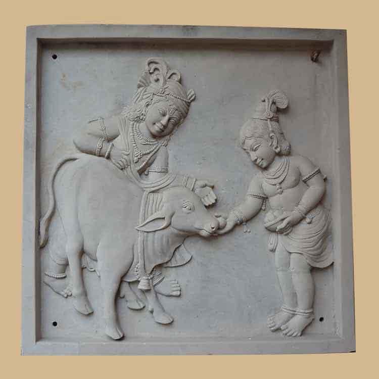 Bal Krishna Stone Carved Wall Panel